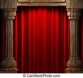 gordijnen, fluweel, achter, hout, rood, oud, kolommen