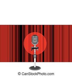 gordijnen, microfoon