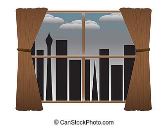 gordijnen, rainclouds, nee, lichten, nacht, cityscape