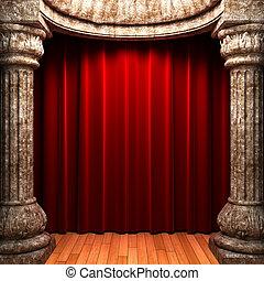 gordijnen, steen, fluweel, achter, rood, kolommen