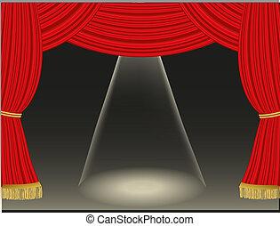 gordijnen, theater, achtergrond