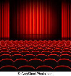 gordijnen, theater, rood, toneel