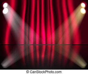 gordijnen, verlichting, rood, toneel
