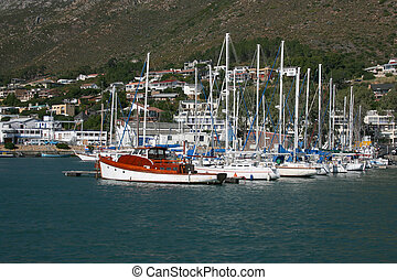 Harbour - Gordons Bay Harbour in South Africa with boats...