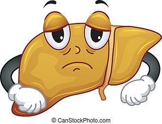 gorduroso, fígado, mascote