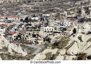 Goreme tilt-shift - A panoramic photo of Goreme in...
