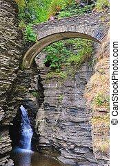 Gorge Bridge - A tourist takes a break on one of several...