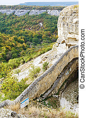 gorge mariam dere and wall of chufut kale town in Crimean...