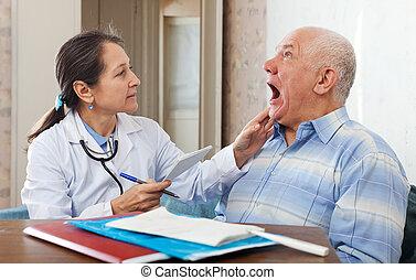 gorge, personne agee, patient, regarde, docteur