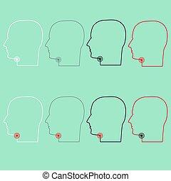gorge, tête endolorie, icon.