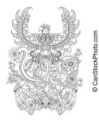 Gorgeous adult coloring page, eagle spread it's wings with snake hiss, decorative floral elements around them.