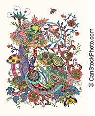 Gorgeous adult coloring page, frog and chameleon on colorful...