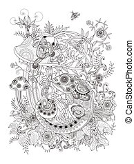 Gorgeous adult coloring page, frog and chameleon on mushroom, anti-stress pattern for coloring.