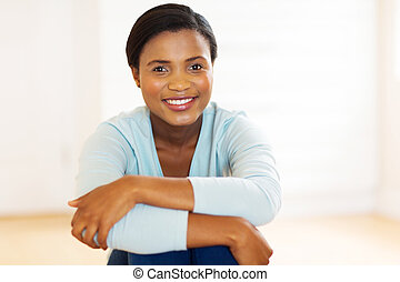 african american woman in new home