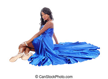 Gorgeous African American woman on floor.