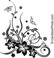 A gorgeous single colour silhouette corner flower design with butterflies.