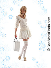 gorgeous blond with shopping bag and snowflakes #2 -...