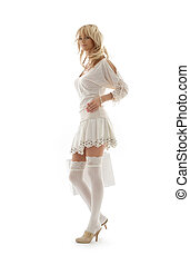 gorgeous blond with shopping bag over white