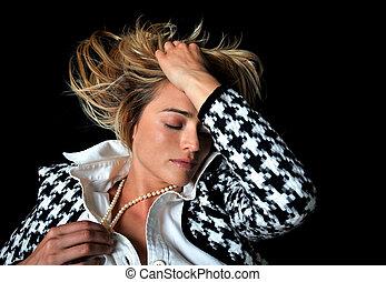 Gorgeous blonde fashion model.