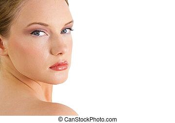 Gorgeous blonde looking over shoulder