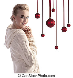 gorgeous blonde wearing a comfy sweater - beauty shot of a ...