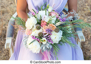 gorgeous bridal bouquet with white peonies