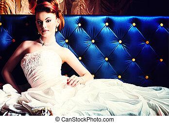 gorgeous bride - Beautiful bride in a luxurious restaurant....