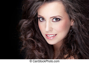 gorgeous brunette - close-up portrait of young smiling ...