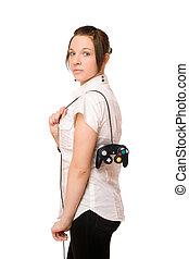 Gorgeous brunette lady with a joystick