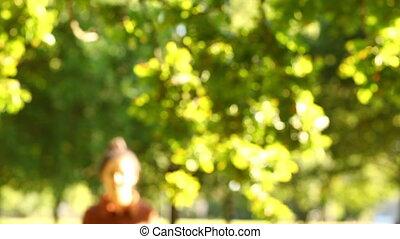 Gorgeous brunette walking towards the camera