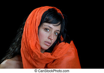 Gorgeous brunette woman in a scarf.