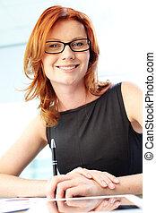 Gorgeous businesswoman - Vertical portrait of a gorgeous ...