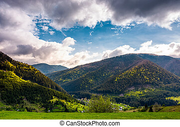 gorgeous Carpathian weather in springtime. view of beautiful...