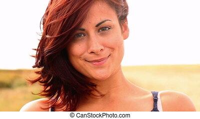 Gorgeous content brunette smiling