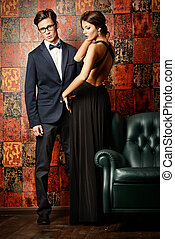 gorgeous couple - Beautiful gorgeous couple in elegant...