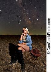 Gorgeous cowgirl under Milky Way