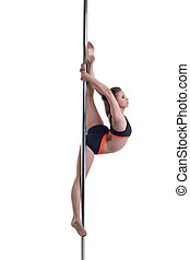 Gorgeous dancer performs gymnastic split on pole