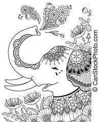 gorgeous elephant with floral - adult coloring page