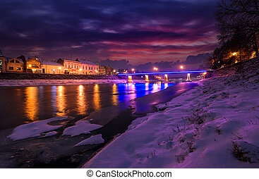 gorgeous evening cityscape of old town in winter - gorgeous...