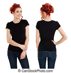 Gorgeous female with blank black shirt