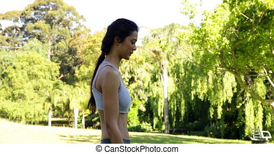 Gorgeous fit brunette lifting dumbbells in the park on a...