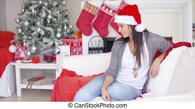 Gorgeous friendly woman celebrating Christmas - Gorgeous...