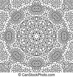 Gorgeous full frame geometric design background with floral patterns and circular elements