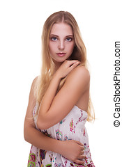 Gorgeous girl with young skin on white background