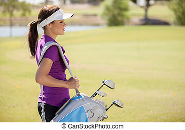 Gorgeous golfer ready to play