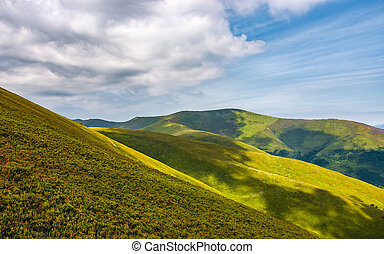 gorgeous green rolling hill in summer. beautiful view of...