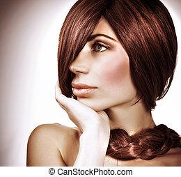 Gorgeous hairdo - Closeup portrait of of gorgeous model with...