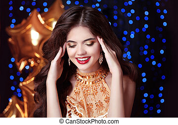 gorgeous, happy smiling young woman with red lips, in luxury...