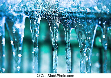 Gorgeous icicles close up view.Beautiful nature backgrounds.