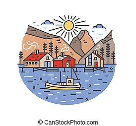 Gorgeous landscape with boat sailing in sea and passing by stilt houses, spruce trees and mountains. Marine journey or adventure travel location. Colored vector illustration in modern line art style.